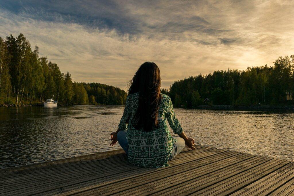 yoga, woman, lake